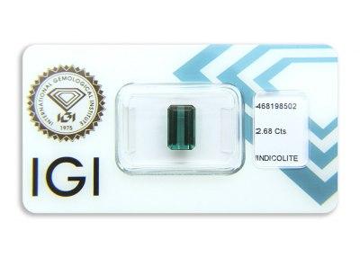 indigolit 2.68ct greenish blue s IGI certifikátem