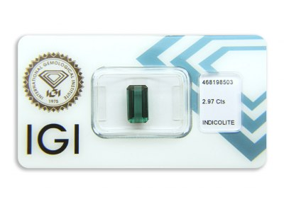 indigolit 2.97ct greenish blue s IGI certifikátem