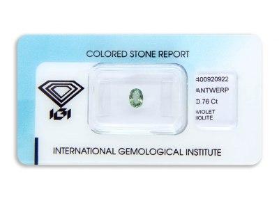iolit 0.76ct blue-green s IGI certifikátem