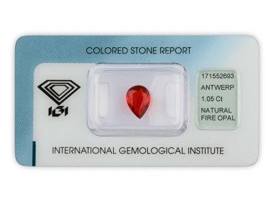 ohnivý opál 1.05ct reddish orange s IGI certifikátem