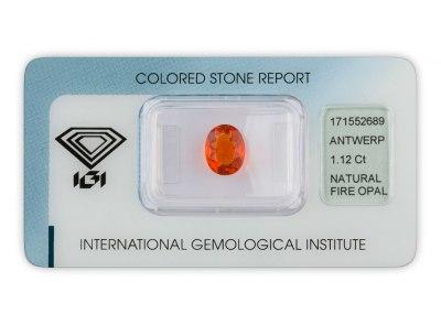 ohnivý opál 1.12ct orange s IGI certifikátem