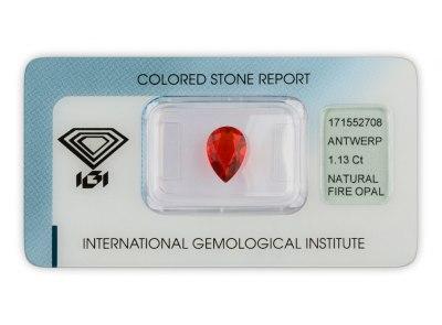 ohnivý opál 1.13ct orange - red s IGI certifikátem