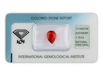 ohnivý opál 1.19ct orangy - red s IGI certifikátem