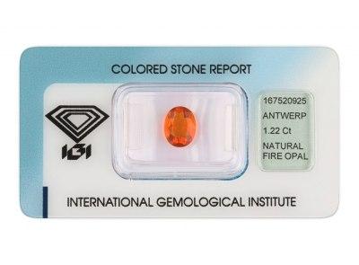 ohnivý opál 1.22ct orange s IGI certifikátem