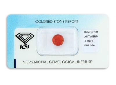 ohnivý opál 1.28ct reddish orange s IGI certifikátem