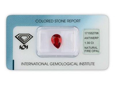 ohnivý opál 1.30ct orangy - red s IGI certifikátem