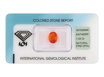 ohnivý opál 1.33ct orange s IGI certifikátem