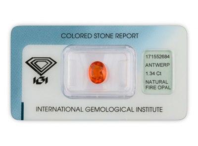 ohnivý opál 1.34ct orange s IGI certifikátem