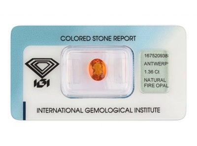 ohnivý opál 1.36ct orange s IGI certifikátem