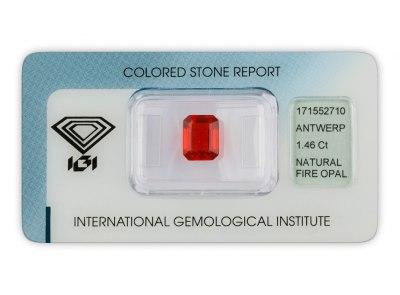 ohnivý opál 1.46ct orangy red s IGI certifikátem