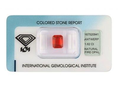 ohnivý opál 1.62ct orange s IGI certifikátem