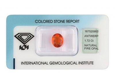 ohnivý opál 1.72ct orange s IGI certifikátem