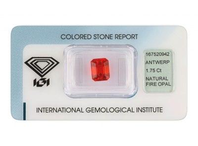 ohnivý opál 1.75ct orange s IGI certifikátem