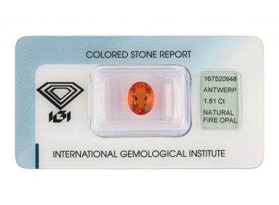 ohnivý opál 1.81ct orange s IGI certifikátem