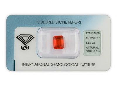 ohnivý opál 1.82ct orange s IGI certifikátem