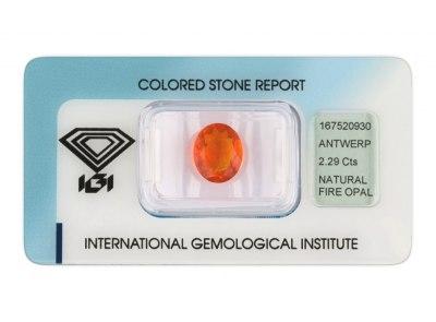 ohnivý opál 2.29ct orange s IGI certifikátem