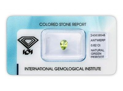 peridot 0.62ct yellowish green s IGI certifikátem