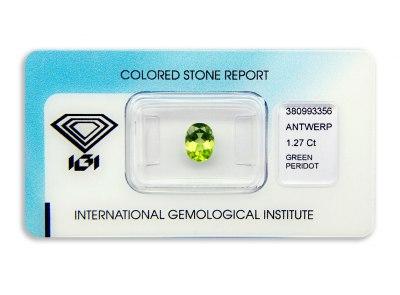 peridot 1.27ct yellow-green s IGI certifikátem