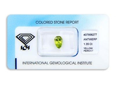 peridot 1.35ct green-yellow s IGI certifikátem