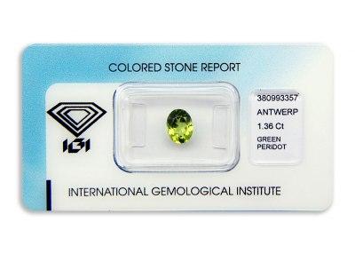 peridot 1.36ct yellow-green s IGI certifikátem