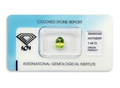 peridot 1.44ct yellowish green s IGI certifikátem