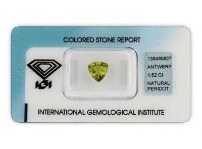peridot 1.62ct yellowish green s IGI certifikátem