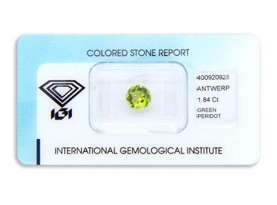 peridot 1.84ct yellowish green s IGI certifikátem