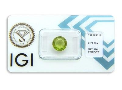 peridot 2.71ct yellowish green s IGI certifikátem