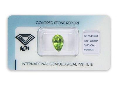 peridot 3.63ct yellowish green s IGI certifikátem
