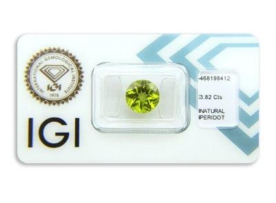 peridot 3.82ct yellowish green s IGI certifikátem