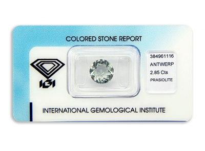 prasiolit 2.85ct light green s IGI certifikátem