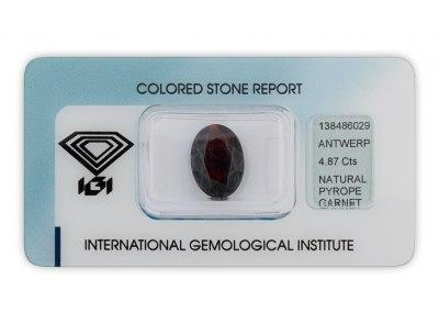 pyrop 4.87ct dark brownish red s IGI certifikátem