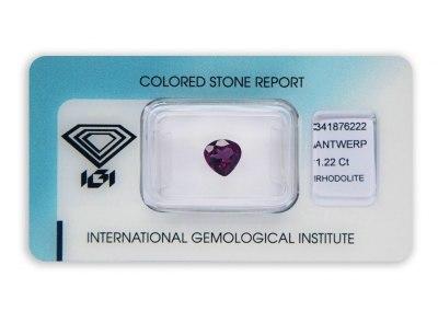 rhodolit 1.22ct purple-pink s IGI certifikátem