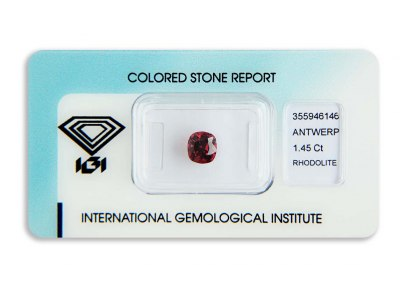 rhodolit 1.45ct purplish pink-red s IGI certifikátem