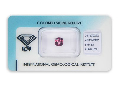 rubelit 0.94ct pink-purple s IGI certifikátem