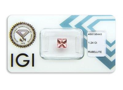 rubelit 1.24ct orange pink s IGI certifikátem
