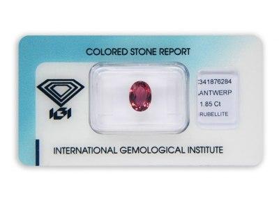 rubelit 1.85ct orangy-purplish pink s IGI certifikátem