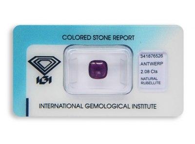 rubelit 2.08ct pinkish purple s IGI certifikátem