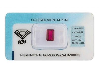 rubelit 2.10ct purplish pink s IGI certifikátem