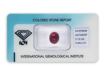rubelit 3.13ct purplish pink s IGI certifikátem