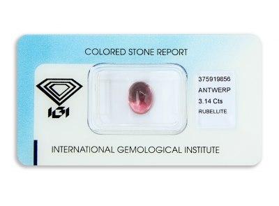 rubelit 3.14ct purplish pink s IGI certifikátem