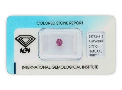 rubín 0.77ct purplish pink-red s IGI certifikátem
