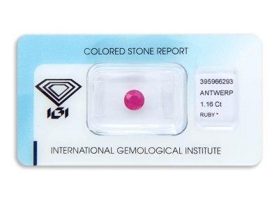 rubín 1.16ct deep purplish pink-red s IGI certifikátem