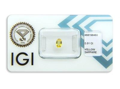 safír 0.51ct orangy yellow s IGI certifikátem