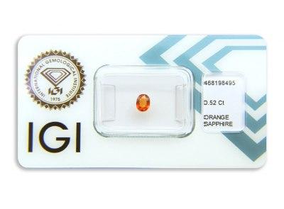 safír 0.52ct deep yellowish orange s IGI certifikátem