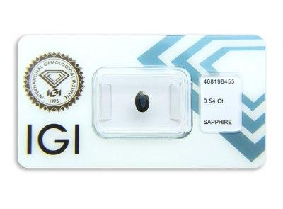 safír 0.54ct dark blue s IGI certifikátem