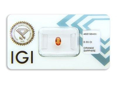 safír 0.55ct orange s IGI certifikátem