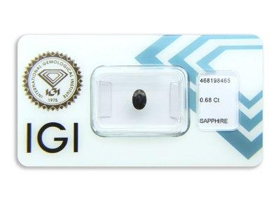 safír 0.68ct dark blue s IGI certifikátem