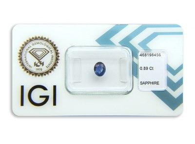 safír 0.89ct blue s IGI certifikátem