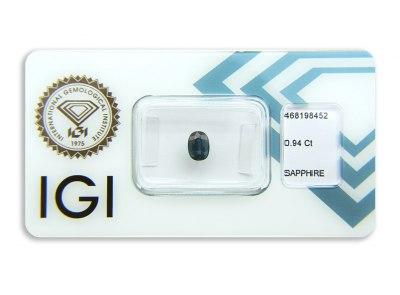 safír 0.94ct greenish blue (tepelně neupraven) s IGI certifikátem